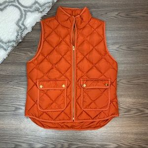 NWT J. Crew Orange Quilted Vest Size Large